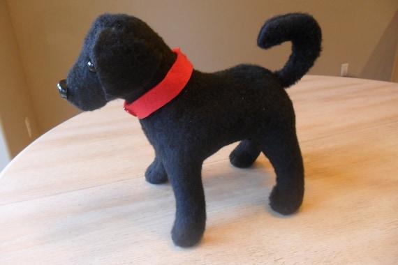 Black Labrador Retriever Stuffed Animal with Red Collar