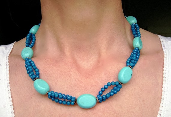 Turquoise Blue Sea Fossil Necklace, Copper