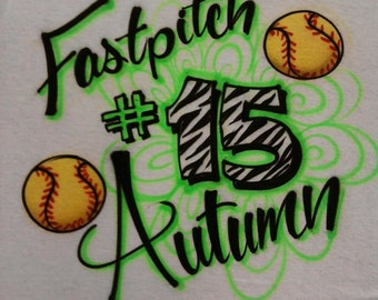 Airbrush Fast Pitch Softball with Name & Zebra Number T-Shirt size S M L XL 2XL Airbrushed T Shirt