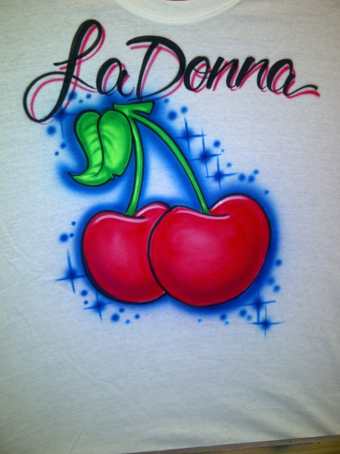 Airbrushed Cherries T Shirt Personalized W Your Name Size S M