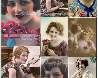 PIN CURLS & POSIES - Vintage Ladies Digital Collage Sheet Download - Instant Digital Download - Bonus Sheet My Treat