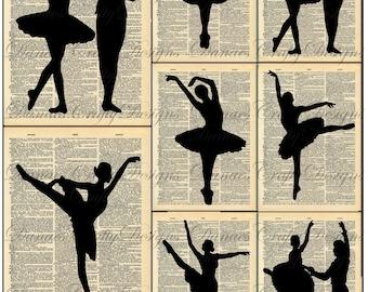 Vintage Ballet Silhouettes 1 on Dictionary Print Background - Instand Digital Download - Bonus Sheet On Me