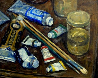 Brushes and Paint Tubes, Artist Tools. Oil on Panel, 12x14 American Realist Still Life, Original Oil Painting, Signed Original Fine Art