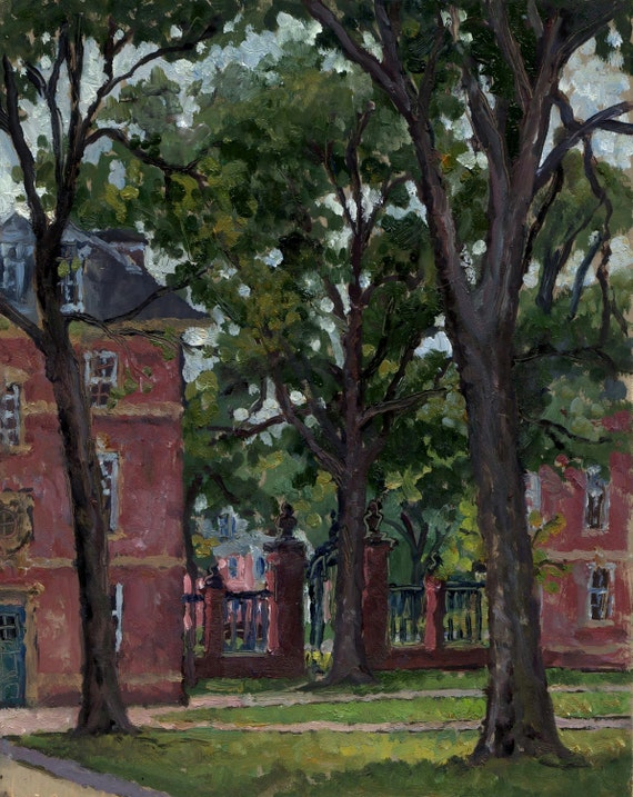 Williams College, Rainy. Original Realist Oil Landscape Painting on Panel, 8x10 Plein Air Impressionist Fine Art, Signed Original Artwork