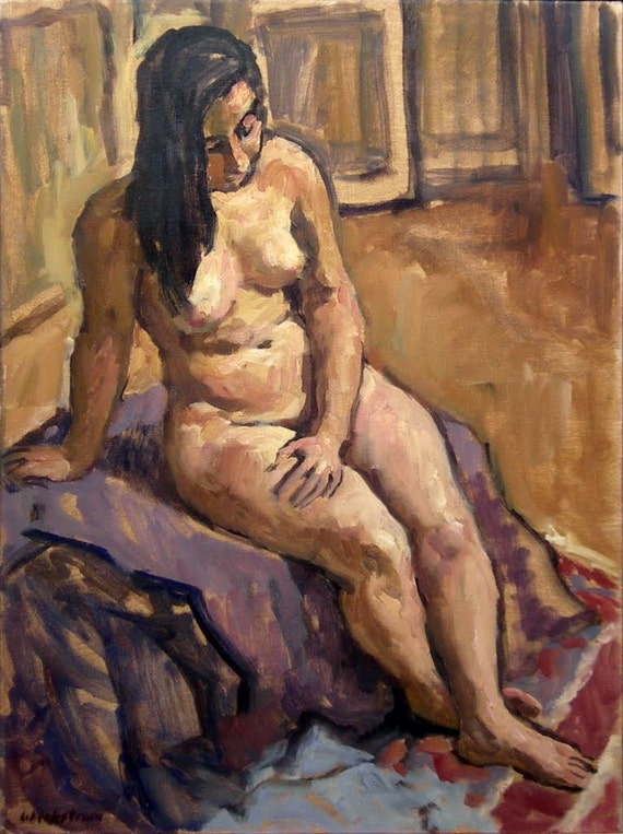 In the Studio. Large Original Oil On Canvas, Framed Female Nude Realist Figure Painting