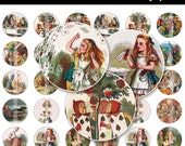 Alice In Wonderland Bottle Cap Images - 4x6 Digital Collage Sheet (No. 141) - 1 Inch Round Circles for Bottlecaps, Magnets, & So Much More