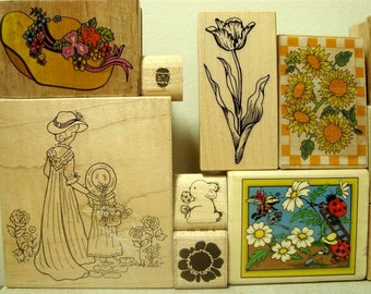 Rubber Stamps 13 DeStash Spring Flowers Pots Garden Ladybugs Wood Mounted