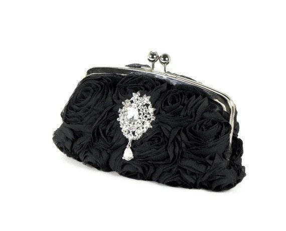 Black Clutch, Black Bridal Clutch, Chiffon Rosette Clutch, Wedding Clutch, Black Evening Bag with Swarovski Crystal Brooch