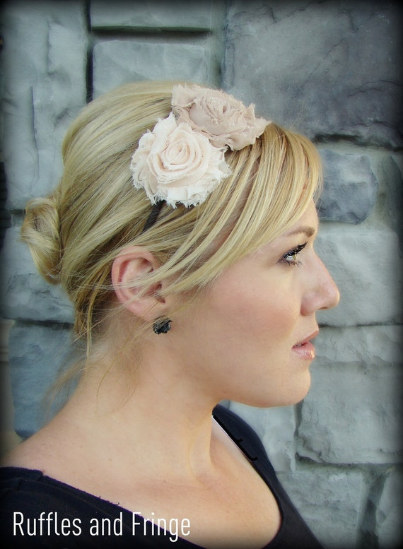 Hair Band - Chiffon Flowers in Mocha and Cream for Girls and Women