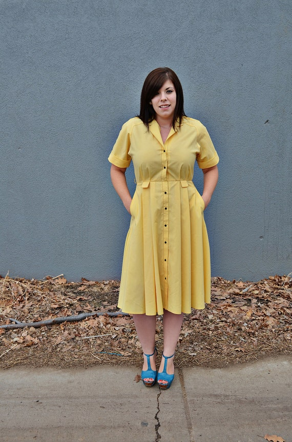 Vintage Yellow Dress with Buttons
