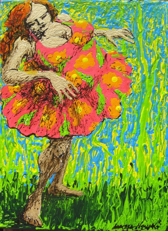 Maui auntie whimsical character full figured woman pop painting