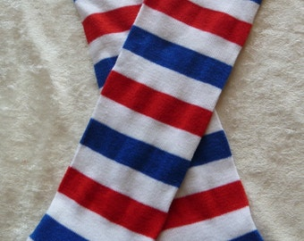 Patriotic Red, White, and Blue Striped leg warmers / baby legs / arm warmers