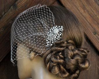 Birdcage Veil ,SWAROVSKI Crystals Hair piece