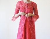 SALE 70's SHEER RED Dress / Embroidered Tunic with Floral Design / Tunic / Cover Up with Bell / Angel Sleeves
