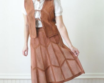1970's Suede Skirt and Vest / BROWN SUEDE PATCHWORK Skirt and Vest by Jonathan Logan Rustic Autumn 2012