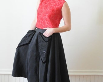 SALE 1950's BLACK CIRCLE Skirt with Floral Design / Velvet and Rhinestones Size Small by Donnamaid Classic