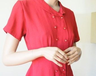Black Friday Sale 50's RED VALENTINE DRESS with Rhinestone Buttons Size Small Party Dress