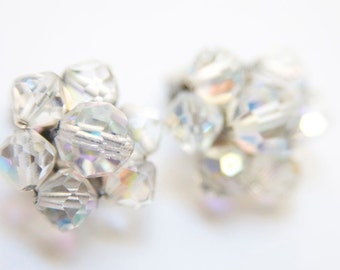 Sale 60's CRYSTAL EARRINGS Old Hollywood / Glamorous Clip On Earrings