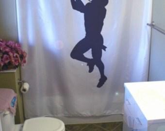 footballer Shower Curtain football catch american sport touchdown  run bathroom decor kids bath curtains custom size long wide waterproof