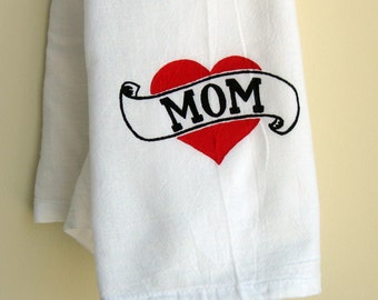 Hand Painted Mom Heart Tattoo Tea Towel - Mother's Day - Gift for Mom - retro design - black and red - mom valentine gift