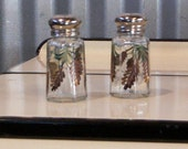 Medium Size Pine Cone Salt & Pepper Shakers by Lisa Hayward Glass Hand-painted Pinecone Salt and Pepper Shakers