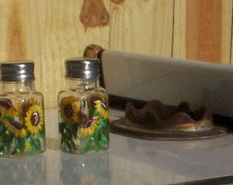 Painted Glass Salt & Pepper Shakers Hand-painted Sunflower Glass Salt and Pepper Shakers by Lisa Hayward
