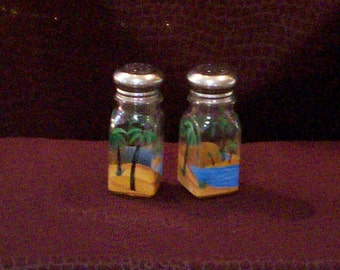 Palm Tree Beach Scene Salt and Pepper Shakers Hand-Painted Glass by Lisa Hayward Beach Palm Tree Salt & Pepper Shakers