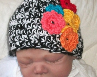 Black & White Cap....Rosytouch Design.. COLORFUL FLORAL accents.... size 0 up to 3 month... Ready.. to... Ship