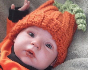 ADORABLE...Terra Cotta Orange....Fall Photos... PUMPKIN Hat...Curly Vine... Boy or Girl... Size 0 up to 3 Month Size
