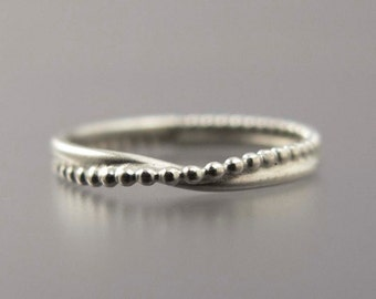 Wave Wedding Ring in Sterling Silver -  dainty ring of bubbles