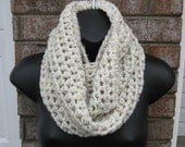 Neckwarmer Infinity Scarf Cozy in WHEAT / Crocheted Knit Cowl Circle wrap / Cowl Winter Scarf Unisex / Scarf Wrap Cowl Infinity Circle