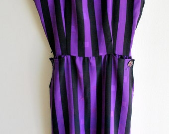 Vintage Purple & Black Striped Graphic Geometric Wiggle Dress XXS XS Extra Small