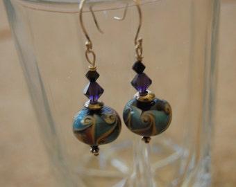purple and aqua lampwork earrings