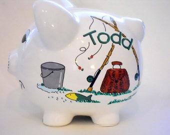 Piggy Bank Fishing Personalized