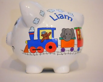 Piggy Bank Personalized Train with Animals