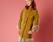 Vintage 1960s Suede Coat - Fox Fur Trim - Asymmetrical Winter Fashions