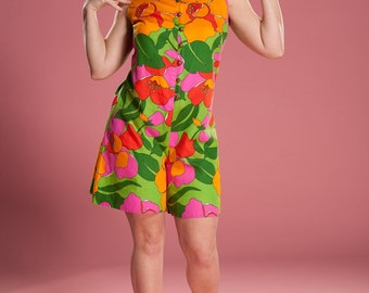 Vintage 1960s Floral Playsuit Romper - Aladdin Cotton - Summer Fashions