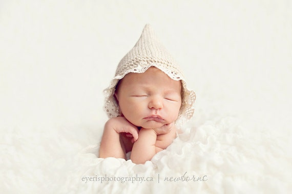 Newborn photo prop, newborn hat, newborn boy, newborn girl, knit newborn hat, newborn props, newborn bonnet with lace brim.