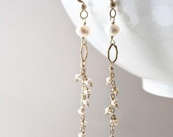 Long Pearl Earrings, Bridal Earrings, Wedding Earrings, Pearl Drop Earrings, Pearl Jewelry