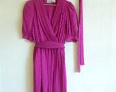 vintage lotus pink silk dress, medium m