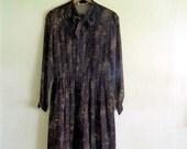 brown fall floral midi dress 100% silk, xsmall small