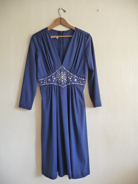 navy blue midi empire dress, size small