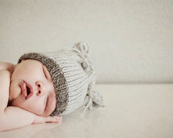 Knit Baby Hat, Newborn Kitten / Bear Ears, Knitted Infant Cap Beanie, U Choose Colors, All sizes. Avail., OOAK Photo Prop