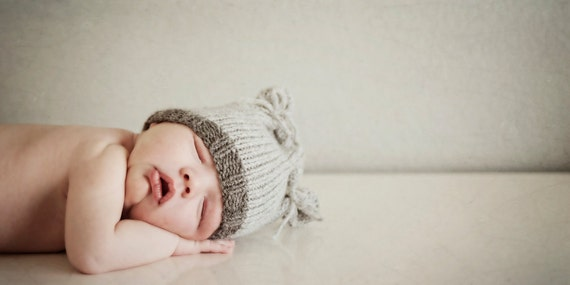 Knit Baby Hat, Newborn Kitten / Bear Ears, Knitted Infant Cap Beanie, U Choose Colors, All sizes. Avail., OOAK Photo Prop