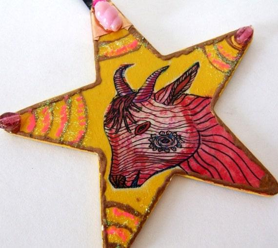 Hand Made Pink Goat Goddess Ornament Capricorn Zeus Nanny Greek January New Year