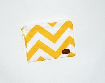 Snack Size Reusable Bag - Yellow and White Chevron Stripe