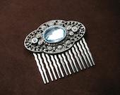 Blue hair comb | art deco headpiece | rhinestone | rustic bridal | silver