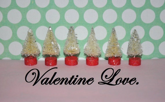 6 Bottle Brush trees Be Mine little cuties Vintage red base Shabby Chic Christmas Valentine bottlebrush lot Instant Collectioon miniature