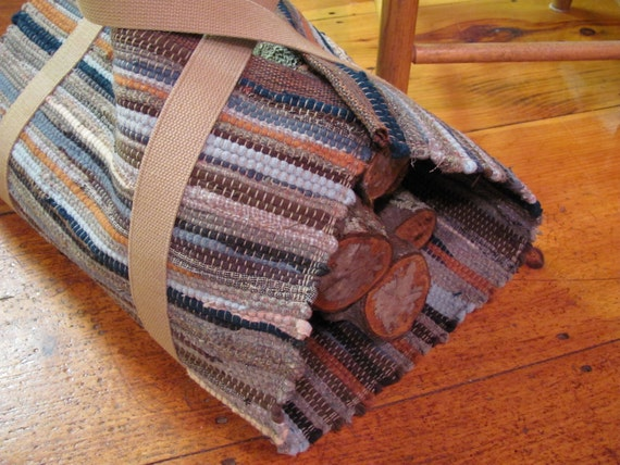 Hand Woven Wood Log Tote, Hand Made Pumpkin Gray Tan Wool Wood Carrier, Cabin Cottage Fireplace Farmhouse Hearth Fall Winter Home Decor