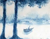 Silhouette Tree Art -  Blue, Antwerp Blu -  Giclee Watercolor fine art giclee print 11x14